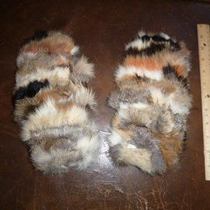Vintage 80's Rabbit Fur / Leather Mittens Look&see